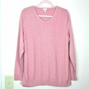 Talbots 100% Cotton Blush Cable Knit Sweater L